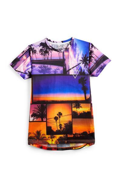 T-shirt met strandprint voor oudere jongens
