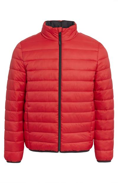 Plain Red Funnel Neck Puffer Coat