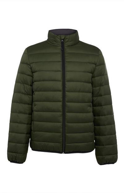 Dark Green Funnel Puffer Jacket