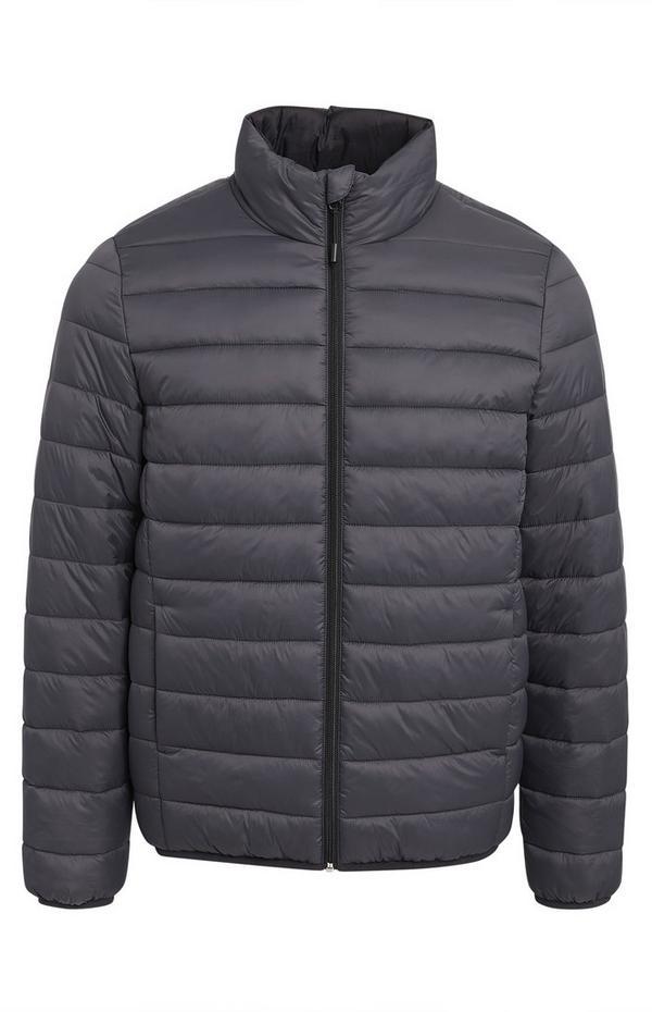 Plain Grey Funnel Neck Puffer Coat