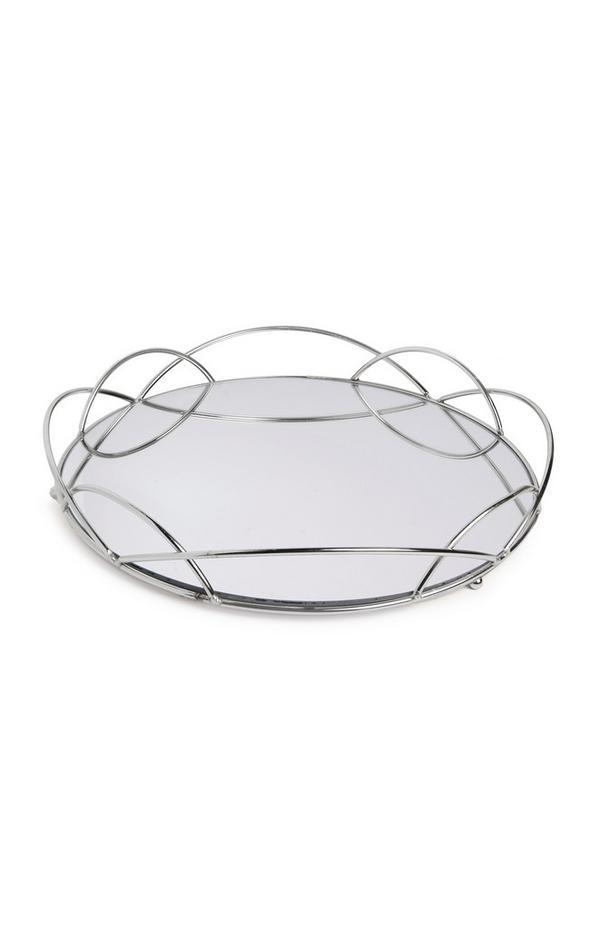 Bandeja grande de espejo con borde plateado