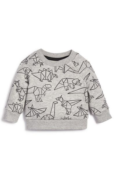 Baby Boy Animal Print Crew Neck Sweater