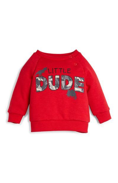 Baby Boy Red Dude Slogan Sweater