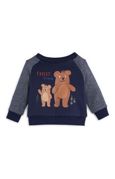 Baby Boy Navy Bear Crew Neck Sweater