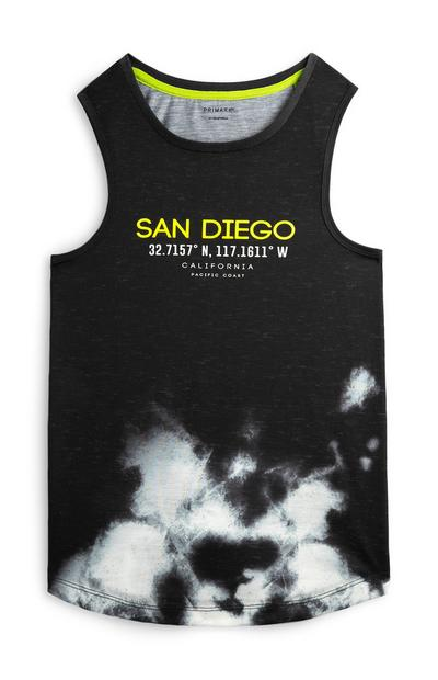 "Schwarzes ""San Diego"" Tanktop in Batik-Optik (Teeny Boys)"
