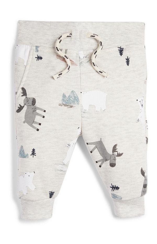 Fantovske hlače za prosti čas z živalskim vzorcem za dojenčke