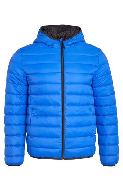 Plain Blue Funnel Neck Puffer Coat