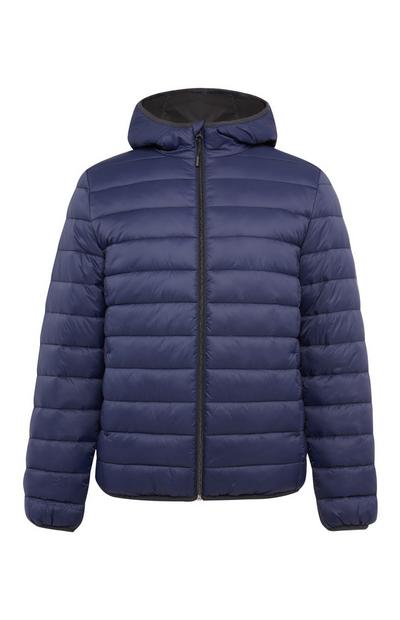 Navy Plain Hooded Puffer Jacket