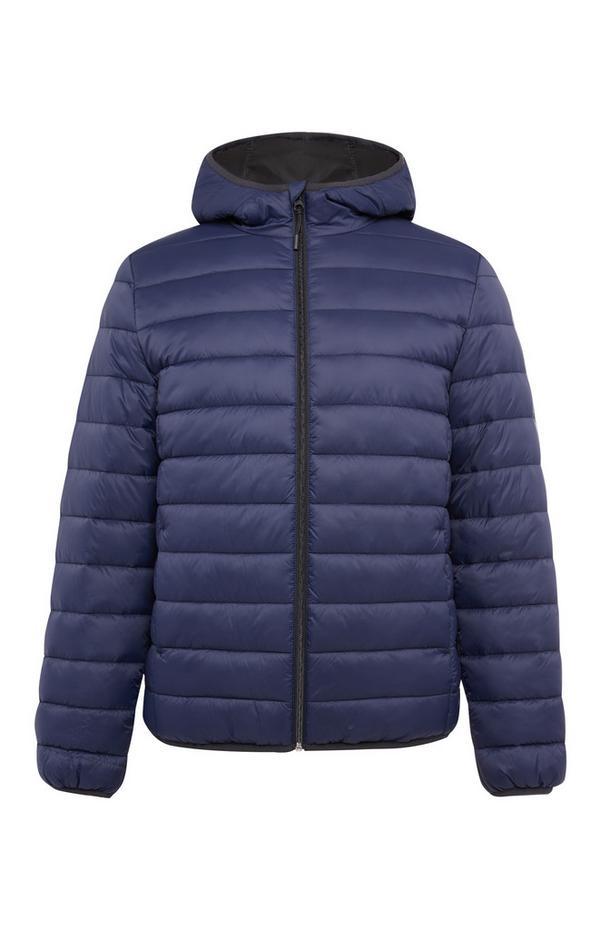 Navy Plain Hooded Puffer Jacket