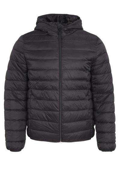 Plain Black Funnel Neck Puffer Coat