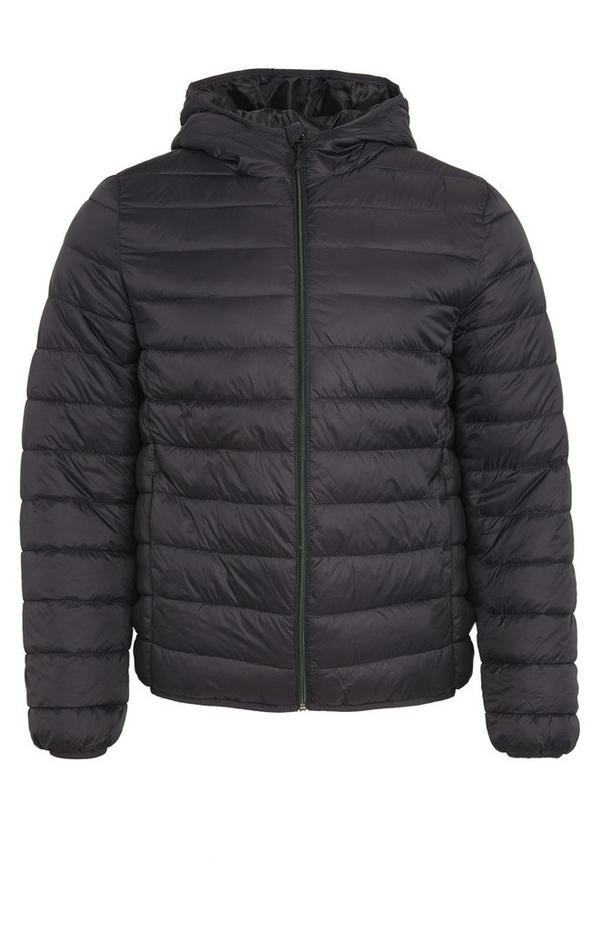 Plain Black Funnel Neck Puffer Coat