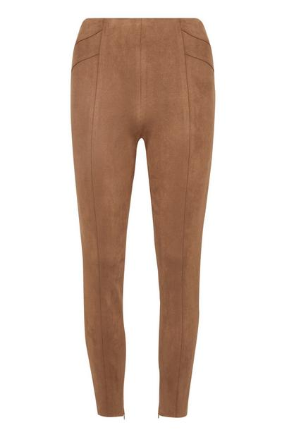 Faux Suede Skinny Brown Trousers