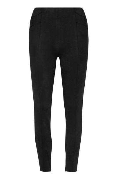 Black Faux Suede Skinny Trousers