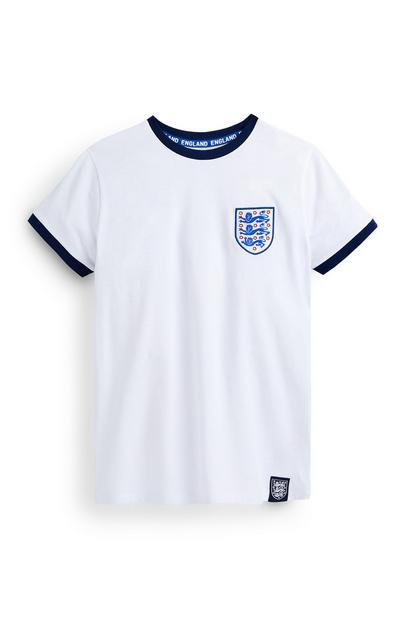 Older Boy White Three Lions Football T-Shirt
