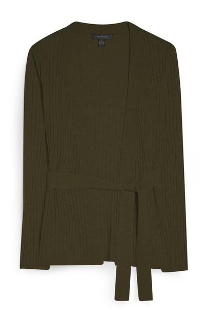 Khakifarbener Cardigan mit Gürtel