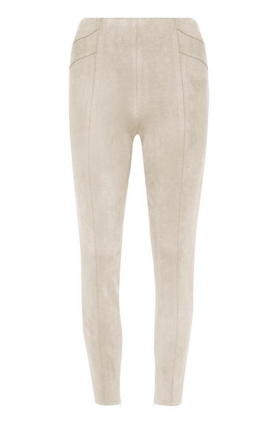 Ivory Faux Suede Skinny Trousers