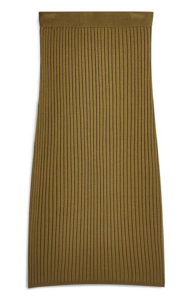 Khaki Ribbed Pencil Skirt