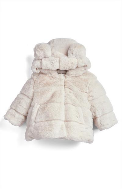 Manteau blanc en fausse fourrure bébé fille