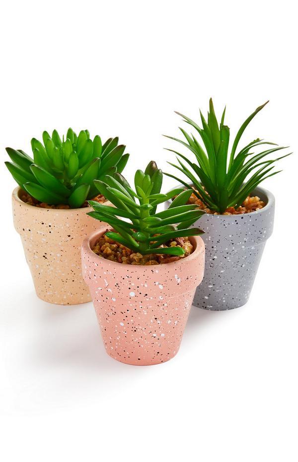 Macetero de cerámica en miniatura con planta artificial