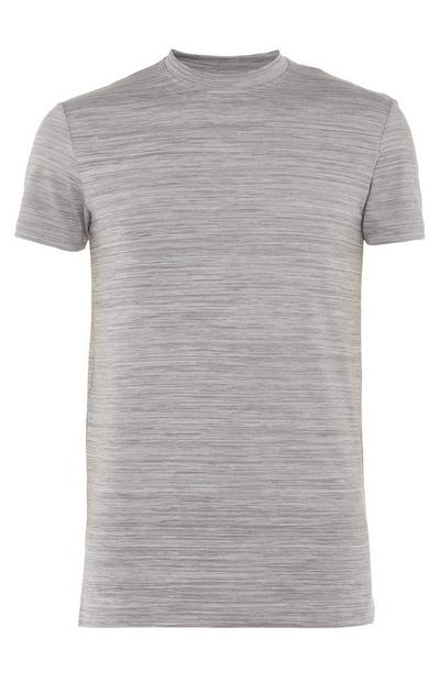 T-shirt gris clair à col rond ultra stretch
