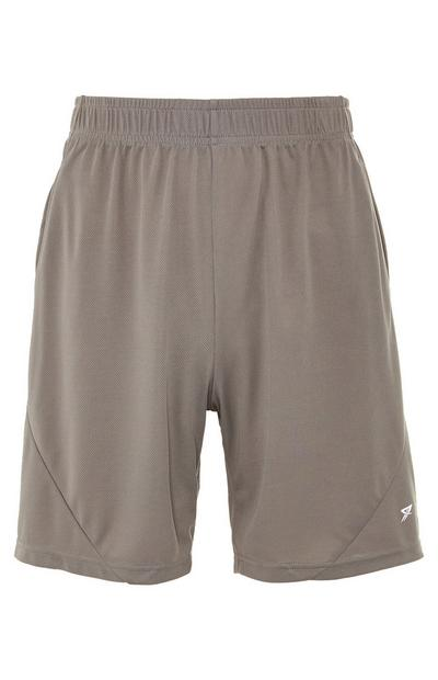 Shorts color tortora in mesh con elastico in vita