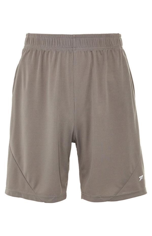 Taupe Mesh Stretch-Waist Shorts