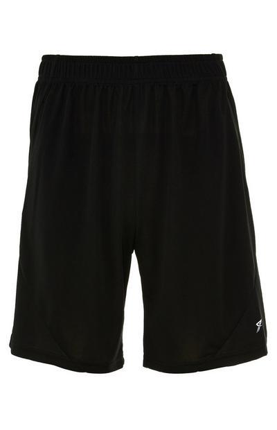 Black Mesh Elastic-Waist Shorts