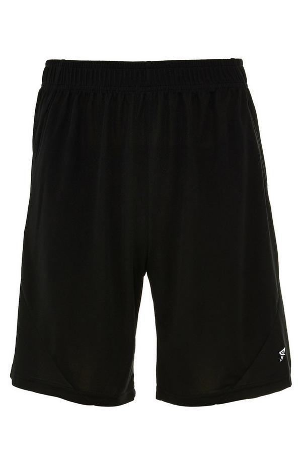 Black Mesh Stretch-Waist Shorts