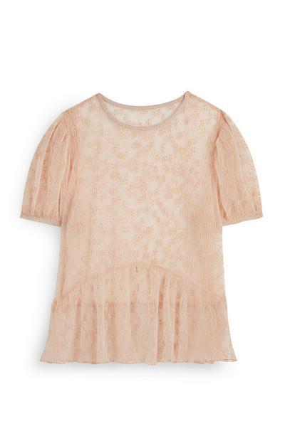 Pink Crinkle Floral Top