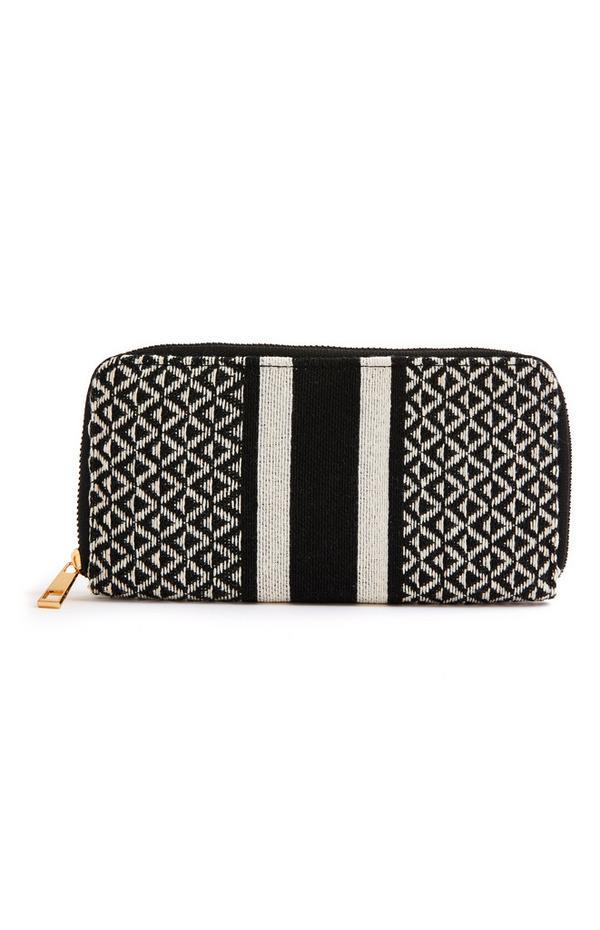 Schwarze, große Jacquard-Brieftasche mit Rundum-Reißverschluss