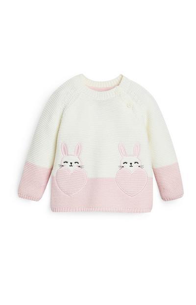 Camisola bolsos coelhos branco/cor-de-rosa