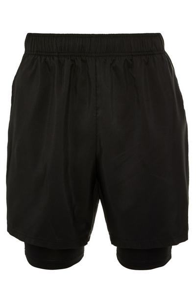 Black Elastic Waist 2-In-1 Shorts