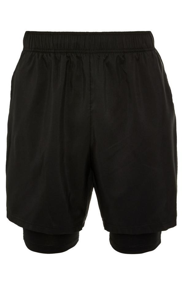 Black Stretch Waist 2-In-1 Shorts
