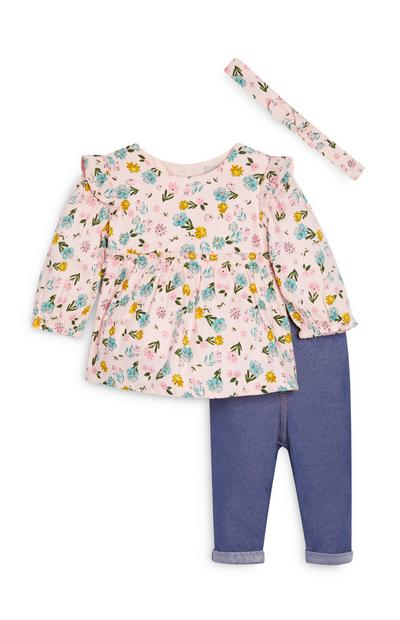 Baby Girl Blouse and Jeggings Set
