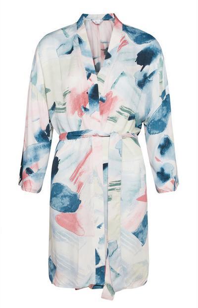 Badjas met pastelkleurige print