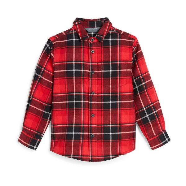 Younger Boy Red Plaid Shirt