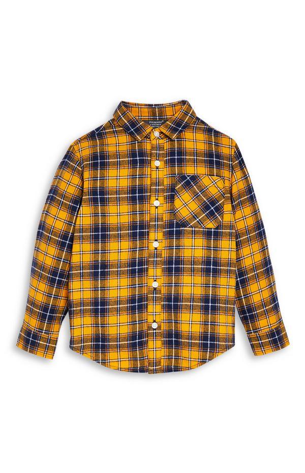 Camisa de franela amarilla para niño pequeño
