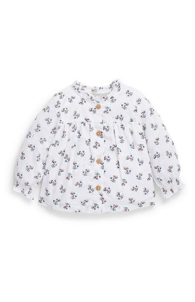 Baby Girl White Floral Pattern Blouse