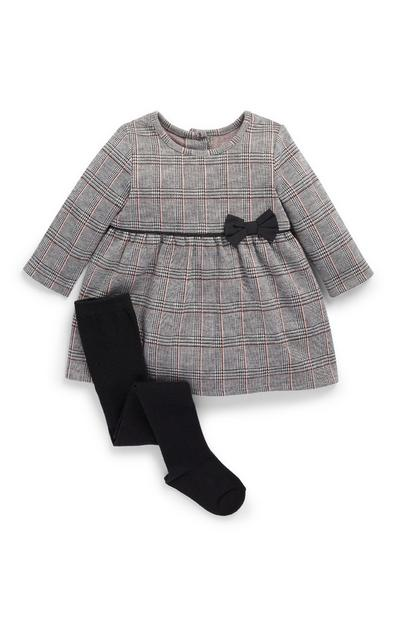 Baby Girl Check Ponte Dress And Tights