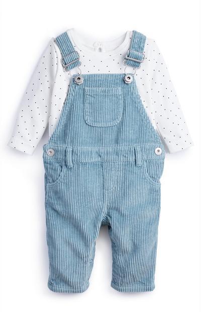 Dekliški modro-bel komplet majice in hlač z naramnicami za dojenčke
