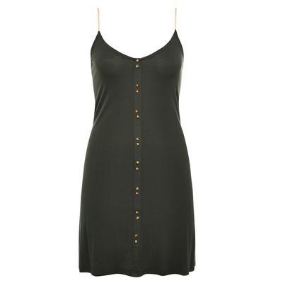 Camisola detalhe botões canelada verde-escuro