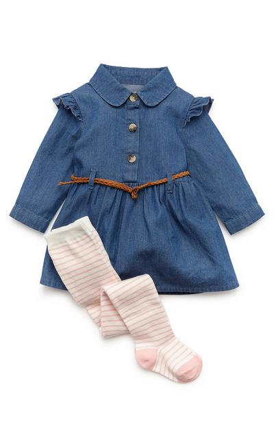 Younger Girl Belted Denim Dress And Tights Set