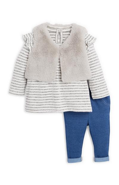 Baby Girl Grey Gilet and Jeggings Set