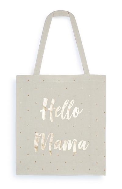 """Canvastasche mit """"Hello Mama""""-Schriftzug aus Goldfolie"""