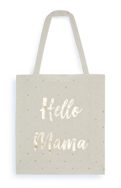 Gold Foil Hello Mama Slogan Canvas Bag