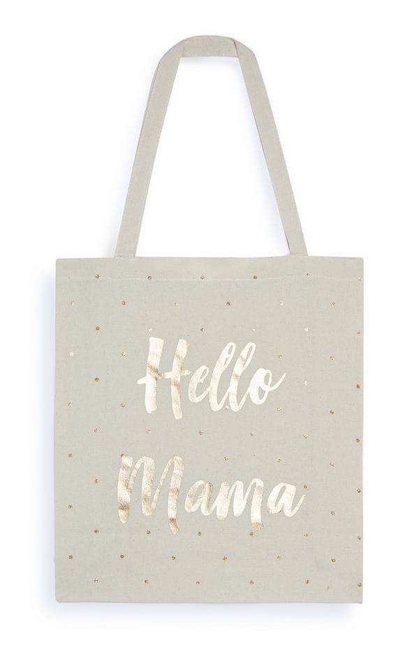 Canvas schoudertas met goudkleurig folie Hello Mama