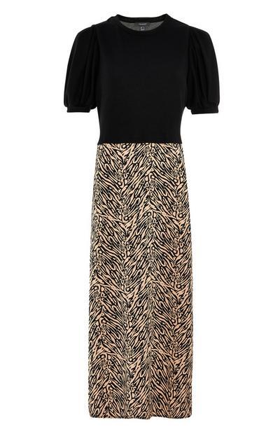 Robe 2 en 1 mi-longue noire avec jupe imprimée