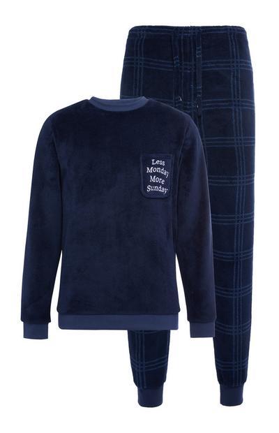 Donkerblauwe pyjama van sherpastof met tekst