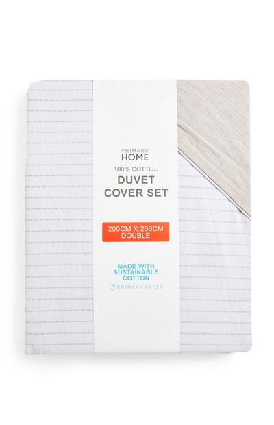 Beige Stitch Stripe Double Duvet Cover Set