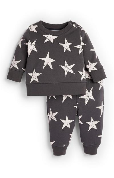 Baby Boy Star Pattern Sweater and Jogger Set